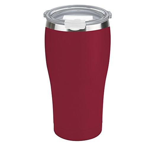 Tahoe Trails 20 oz Stainless Steel Tumbler Vacuum Insulated Double Wall Travel Cup With Lid, Crimson Red