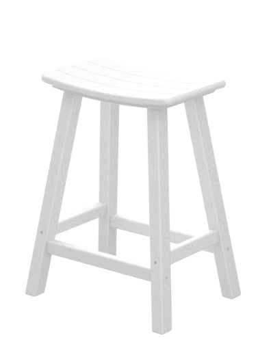 POLYWOOD 2001-WH Traditional 24 Saddle Bar Stool, White