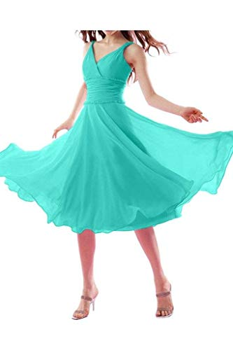 Chiffon La Promkleider Kurz Einfach Braut Gruen Wadenlang V mia Abendkleider Minze Ausschnitt Brautjungfernkleider Elegant Traegerkleider BrqIArpw