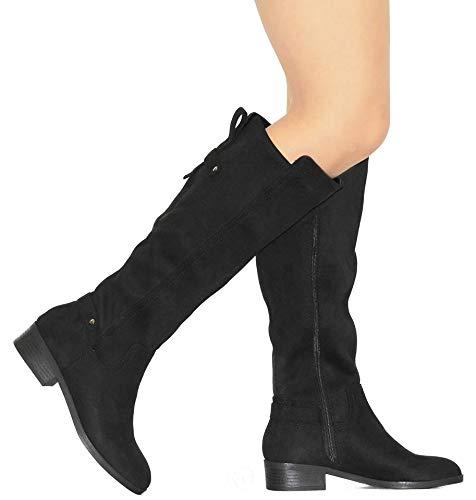 MVE Shoes Women's Knee-high Faux Leather - Comfortable Fashion Boots, Balloon Black ISU 7
