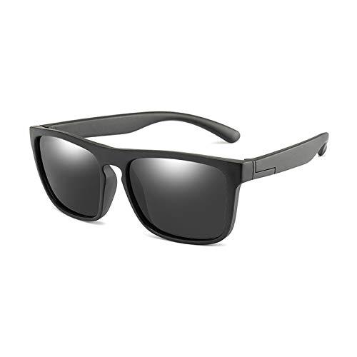 Children Square Polarized Sunglasses Kids Silicone Safe Tr90 Sun Glasses Girls Boys Coating Mirror,Black Grey