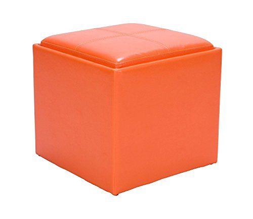 Benzara BM179789 Bi-Cast Vinyl Cube Ottoman with Storage, Orange