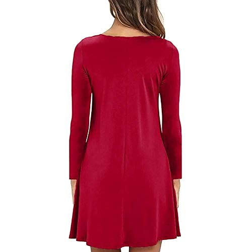 Pour Femmes Maxi T Dames Longues Pocket Casual coloré Vert Robes Couleur shirt Taille Medium Wild Oudan Hip Packet Unie Rouge Mini Lâche Dress À Robe Manches 5PYAOfxAwq