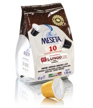 Meseta Coffee Lungo 50 Nespresso Competible capsules Italian Roast coffee For those who like to drink lighter coffee in a large cup, Lungo is a blend of 100% Arabica coffee