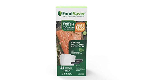 FoodSaver 1-Gallon Precut Vacuum Seal Bags with BPA-Free Multilayer Construction for Food Preservation, (56 Count)