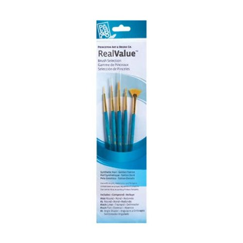Princeton Art & Brush P9170 Real Value Brush Set, Synthetic Gold Taklon, Round 3/0, Liner 20/0, Fan 12/0, Ang ()