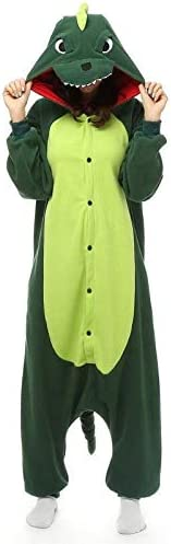 FENGHE Dinosauro Giocattoli Flanella A Forma di Dinosauro Halloween Cosplay Tuta Felpe con Cappuccio Pigiama Donna Uomo con Cappuccio Pigiami Tutine Body Manica Lunga