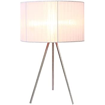 Simple Designs LT2006 WHT Brushed Nickel Tripod Table Lamp With Pleated  Silk Sheer Shade,