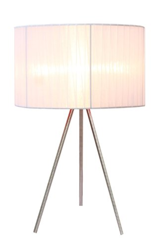 "Simple Designs Home LT2006-WHT Brushed Nickel Tripod Table Lamp with Pleated Silk Sheer Shade, 11.81"" x 11.81"" x 19.69"", White"