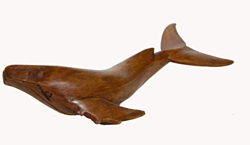 """WorldBazzar Hand Carved 8"""" Humpback Gray Single Whale Table Top Carving Sculpture Ocean Sea Nautical Decor"""