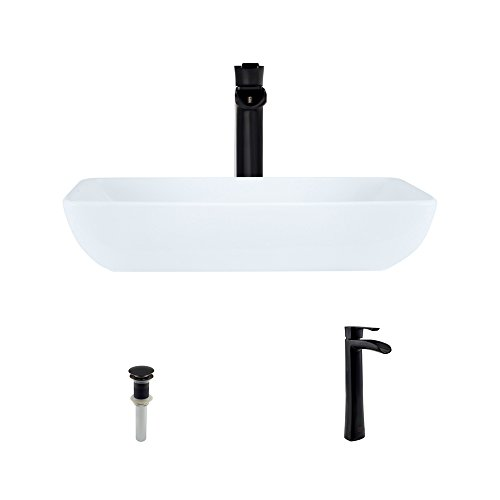 V350-White Porcelain Vessel Sink Antique Bronze Ensemble with 731 Vessel Faucet (Bundle - 3 Items: Sink, Faucet, and Pop Up Drain)