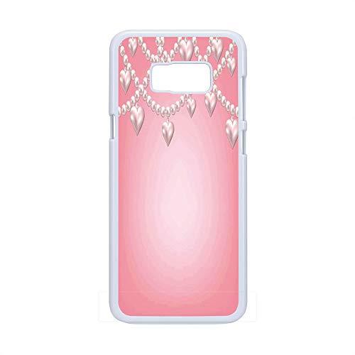 Cell Phone Case Compatible Samsung Galaxy S8 Plus,Pearls Decor - Hard Plastic Phone Case/White - Heart Pearl Necklace Design Vintage Style Accessory Love Celebrating Artwork Print Decorative - Pearl White Heart Design