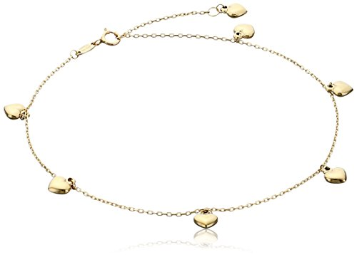 "14k Yellow Gold Puffy Heart Charms Rolo Chain Adjustable Anklet, 9"" + 1"" Extender"