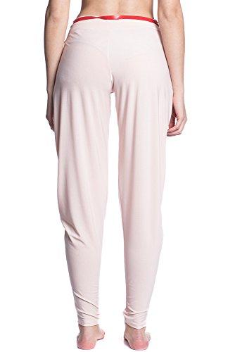 Abbino 7938 Pantalone Ligeros con Arco para Mujer - Hecho en ITALIA - 3 Colores - Entretiempo Transición Primavera Verano Otoño Elegante Rebajas Dulce Flexible Venta Joven Delicado Moderno Casual Rosa