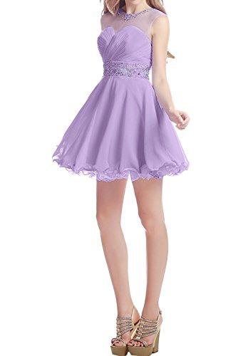 Damen Steine Lavendel Abendkleider Ballkleid Kurz Brautjungfernkleid Ivydressing Elegant Festkleider Chiffon AqwdUgx