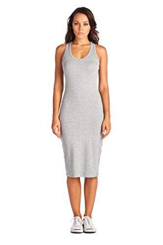 LaClef Women's Sleeveless Basic Racer Back Tank Midi Cotton Casual Dress (Small, Heather Grey)