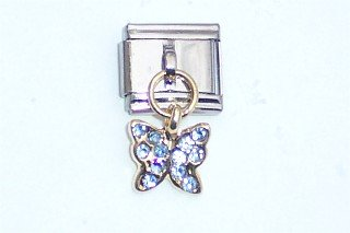 Dangle CZ BLUE BUTTERFLY Italian Charm