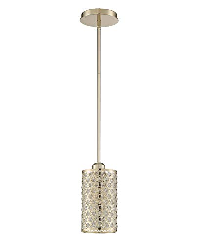 Seenming Lighting 1 Light Crystal Pendant Plating Champagne Finish,Modern and Concise Pendant Fixture with Polyhedral…