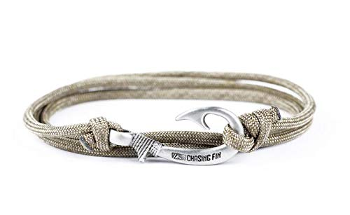 Chasing Fin Adjustable Bracelet 550 Military Paracord Fish Hook Pendant (Brown Gold)