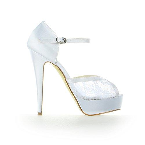 Raso Pizzo Toe Sposa 20126 Sposa di Scarpe Scarpe JIA Piattaforma da Pompe da Tacco Peep Stiletto da Bianco JIA Donna UqSUwnOP8