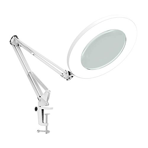 (Lighting LED Magnifying Lamp with Clamp 360°Adjustable Swivel Arm ,Dimmable, Adjustable Color Temperature Utility Light for Crafts Reading Inspection and Professional Use)