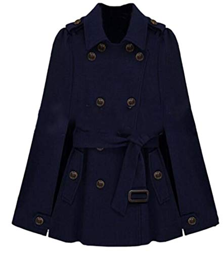 Generic Womens Poncho Cloak Double Breasted Wool Blend Pea Coats with Belted Dark Blue M