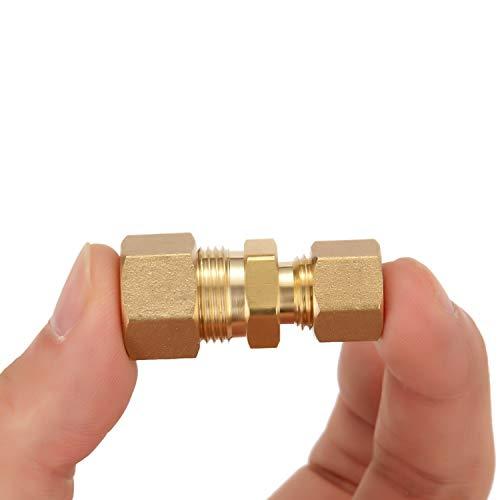 Litorange 3 Pack Metals Brass Tube Fitting Fuel Brake Line Adapter Compression Union 3/8