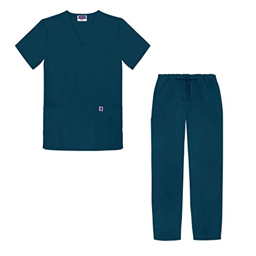 Sivvan Unisex Classic Scrub Set V-neck Top/Drawstring Pants (Available in 12 Solid Colors) - S8400 - Caribbean Blue - XXS