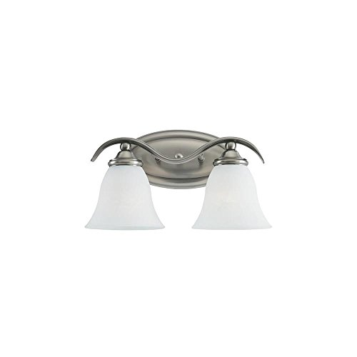 Sea Gull Lighting 44360-965 Rialto Two-Light Vanity, Antique Brushed Nickel Finish with Etched White Alabaster Glass Antique Nickel Vanity Light