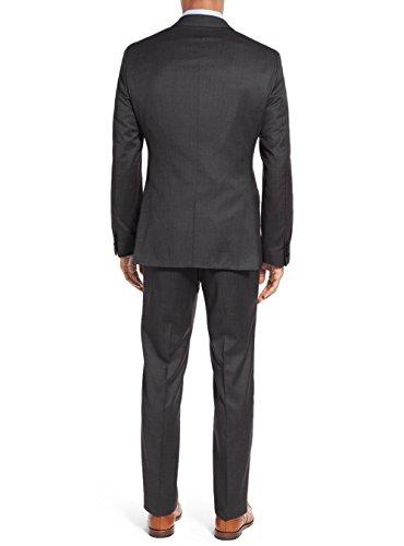 Salvatore Exte Men's Suit 3-Piece Two Button Blazer Jacket Flat Front Pants (54 Regular US / 64R EU / W 48'', Modern Fit Charcoal) by Salvatore Exte (Image #2)
