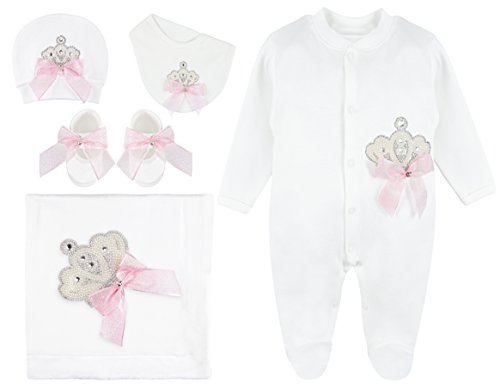 Lilax Baby Girl Jeweled Crown Pink Shimmer Layette 5 Piece Gift Set 0-3 Months by Lilax