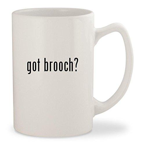 got brooch? - White 14oz Ceramic Statesman Coffee Mug (Trifari Blue Rhinestone)