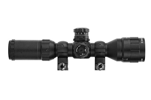 Monstrum Tactical 3-9x32 AO Rifle Scope with Illuminated Range Finder Reticle and High Profile Scope Rings (Black/Black Rings)