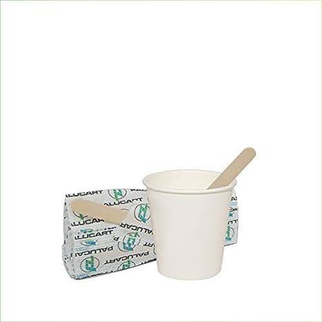 Palucart - 100 Vasos de Papel para café, 75 ml, Color Blanco, biodegradables, cartón para Bebidas Calientes, Capuchino, café + 100 paletas de Madera de Abedul