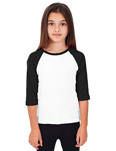 Hat and Beyond Kids Raglan Jersey Child Toddler Youth Uniforms 3/4 Sleeves T Shirts (Small (4-5 Year), (Kid) 5bh03_White/Black) Black And White Toddler Shirt
