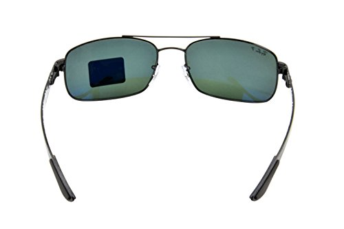 Ray-Ban METAL UNISEX SUNGLASS - BLACK Frame CRYSTAL POLAR GREEN Lenses 62mm Polarized