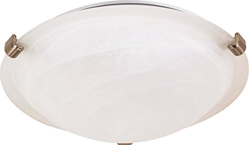 (Nuvo 60/271 16-Inch Brushed Nickel Tri-Clip Flush Dome with Alabaster Glass)