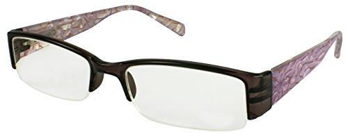 (Edge I-Wear Rectangular Semi-Rimless Plastic Reading Glasses with Spring Hinges. 540603PTT 2.25 Clear Plum)