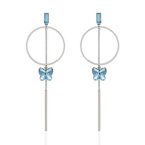 TL Jewelry 925 Sterling Silver Sky Blue/Purple Butterfly Long Earrings Created with Swarovski Crystal (Earring Blue Sky)
