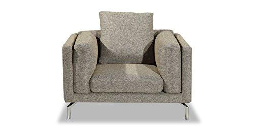 Kardiel Basil Modern Loft Armchair with Stainless Steel Legs, Oatmeal Twill