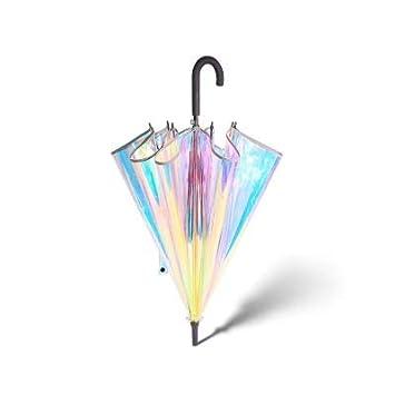 precio especial para amplia selección personalizadas TYHJF Parasol de plástico PVC holográfico de Moda con Mango ...