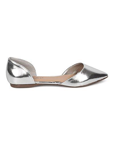Toe D'orsay Pointed Ts Faux Flats Breckelles Pu Silver Suede Women's q7wTxXIB
