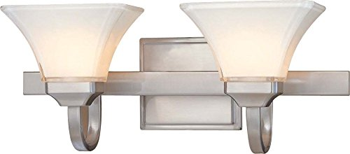 (Minka Lavery Wall Light Fixtures 6812-84 Agilis Reversible Glass Bath Vanity Lighting, 2 Light, 200 Watts, Nickel)