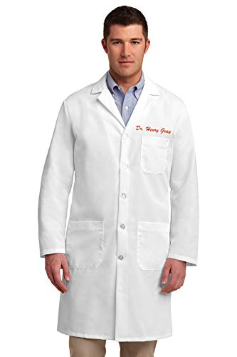 DOCAZON | PERSONALIZED Embroidered Name White Coat for Medical Professional | Doctor Physician Nurse MD DO PA NP Med Tech MLS Lab Laboratory Clinical Men Women (Unisex)