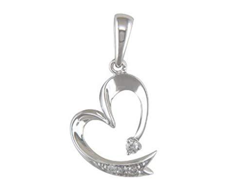 JMS Jewelry 10K White Gold Heart Diamond Pendant with Free 18