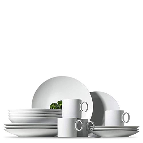 Rosenthal Thomas Loft White Dinnerware Set - Modern Dishes including Dinner Plates, Salad Plates, Soup Plates and Mugs - Made of Porcelain - 16 pieces