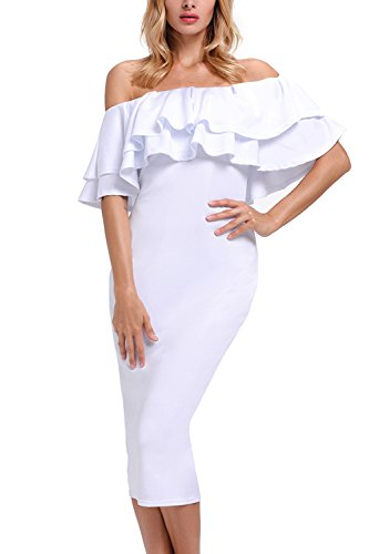 GOSOPIN Women's Off Shoulder Ruffle Bodycon Fit Sexy Midi Dresses Floral Print XX-Large White