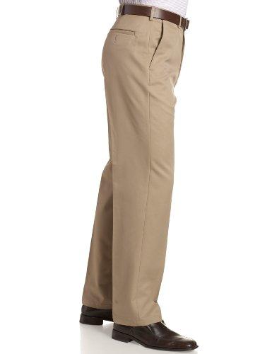 Haggar Men's Cool 18 Hidden Comfort Waist Plain Front Pant,British Khaki,36x30 by Haggar (Image #3)