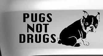 Pugs Not Drugs Dog Car Vinyl Decal Funny Drift Jdm Wall Art  Light Blue  8 Inch  Die Cut Vinyl Decal For Windows  Cars  Trucks  Tool Box  Laptops  Macbook  Virtually Any Hard