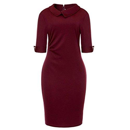 unter Frauen dem Ronamick Rot Pencil mit Kleid Reißverschluss formale Knie Rücken Büro Retro Angebote verfügbaren kleider Wein Kleid Bodycon CtwYYq